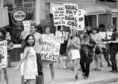 1970: Women protest for equal pay in Detroit.