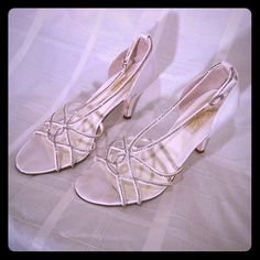 Wedding shoes size 9.5 EMBELLISHED with diamond SEQUINS on straps. Literally wore them 30 minutes!! Bundles are always welcomed!! Pet free smoke free home!!!! Shoes Heels