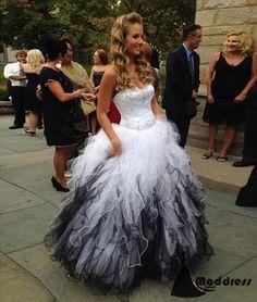 Cute Sweetheart Long Prom Dress White Black Ball Gowns Beading Evening Dress,HS433