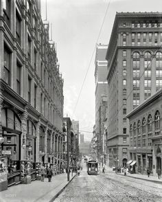 """Home!!  For most of my life I called the suburbs of Pittsburgh my home.   About 20 min drive from my house.  Pittsburgh circa 1908. """"Fifth Avenue looking north."""" On the left, Kaufmann's."""