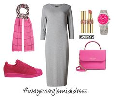 """Light grey x shocking pink"" by astrizakiyyah on Polyvore featuring M&S Collection, Yves Saint Laurent, Kate Spade, adidas, Mercy Delta and Michele"