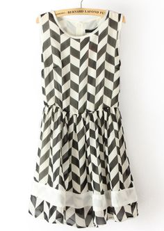 Black & White Geometric Print Dress.