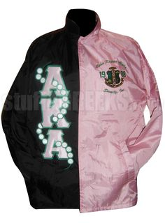 BLACK AND PINK TWO-TONE ALPHA KAPPA ALPHA LINE JACKET WITH PEARLS THRU LETTERS  Item Id: PRE-TTXJ-AKABLKPNK    Retail Price: $229.00  You Save: $30.00  Price: $229.00  Your Price: $199.00