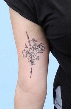 Dainty Flower Tattoos, Flower Bouquet Tattoo, Simple Flower Tattoo, Birth Flower Tattoos, Beautiful Flower Tattoos, Flower Tattoo Designs, Flower Outline Tattoo, Black And White Flower Tattoo, Tattoo Flowers