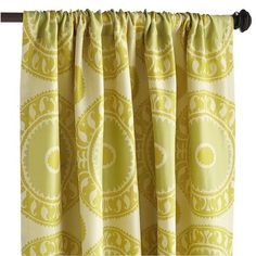 What a cool way to brighten up my Living Room! Grande Medallion Window Panel - US Cute Curtains, Yellow Curtains, Drapes Curtains, Window Seat Kitchen, Dining Room Curtains, Window Panels, Window Seats, Florida Home, Kitchen Redo