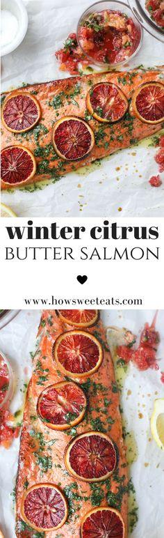 Winter Citrus Butter Salmon I howsweeteats.com @howsweeteats