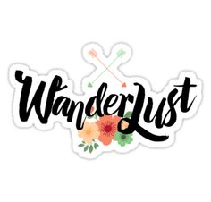 """Wanderlust is not just a trendy word, it's """"le mal du siècle"""" of the hipster generation. That sense of belonging somewhere else, the need to travel and discover and just, simply, go. Well this calligraphic Wanderlust lettering wants to celebrate that romantic endless longing. • Also buy this artwork on stickers, apparel, phone cases, and more."""