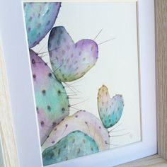 Original Watercolor 'Purple Prickly Pear'  by RosalinaDesign