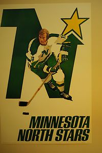 Vintage Minnesota North Stars Poster from The Early 1970s