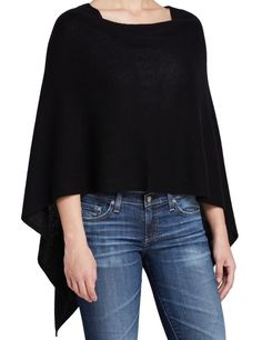 705e21c4c8dc1 Magaschoni NEW Black Women s One Size Poncho Cashmere Sweater  198-  027