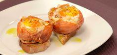 Ninhos de presunto, bacon, ovo e alheira