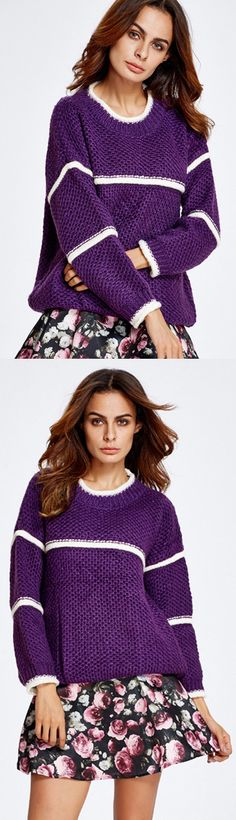 Purple Oversized Pullover Sweater with Print Skirt sweater,sweaters,knit sweater,knittedsweater,purple sweater,sweaterset,sweater dress
