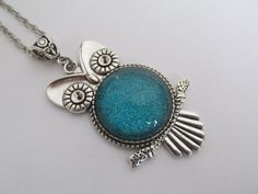 Owl Pendant  Teal by pattimacs on Etsy