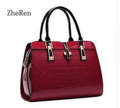 Charm in hands Elegant Alligator Patent Leather Women Handbag Big Women's Shoulder Bags Cross Lock Design Lady Tote Handbag *** Details on product can be viewed by clicking the image
