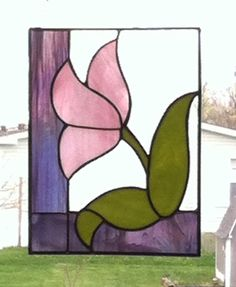Pink Tulip Stained Glass Panel by AphroditesTreasure on Etsy, $35.00