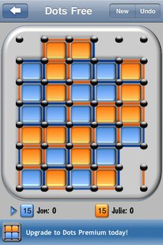 """Dots Free ($0.00) is a very simple game. Two players take turns drawing lines between dots on the game board. When a player draws a line that completes a box, the player """"owns"""" that box. Whoever owns more boxes when the game board is full is the winner.     Dots Free supports one player and two player gameplay, so you can play against another human or against your iPhone. If you're really bored, you can even put the game in demo mode and watch your iPhone play itself."""