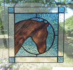 Horse Head Silhouette Stained Glass Panel