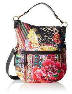 #Desigual Tasche - Modell Hobo Bag. Muster: floral, ethnisch, exotisch, schwarz.