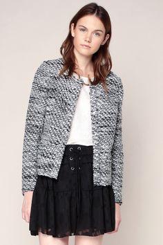 Veste texturée grosses mailles noir/blanc Carenems - Iro