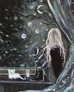 Winternacht geteilt von Cristy Granger auf We Heart It – Cold Winter Nights Art And Illustration, Pinterest Arte, Poster Graphics, Witch Art, Moon Art, Gothic Art, Whimsical Art, Art Sketchbook, Dark Art