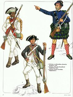 Loyalist Infantry L to R Private Battalion Jamaica Rangers Private, the Newfoundland Regiment 1780 & Private North Carolina Highlanders from an early Osprey Men at Arms (originally published possibly in American Revolutionary War, American War, Early American, American History, British Army Uniform, British Soldier, Military Art, Military History, Military Uniforms