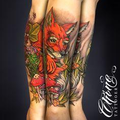 #tattoo #tattoos #tatted #tattooed #tatts #tattooer #tatt #tattooart #art #artist #tattooist #tattooartist #tattooing #colortattoo #ink #inked #inkedup #inklife #inkstagram #newschool #newschooltattoo #fox #mushrooms