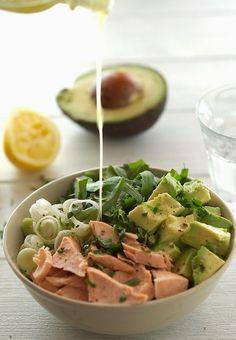 Salmon, Avocado and Arugula Salad with Lemon-Parsley Dressing
