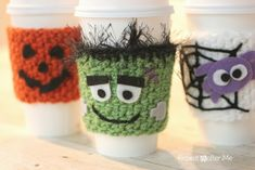 Halloween Crocheted Cup Cozy Pattern by Repeat Crafter Me