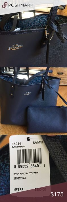 "NWT reversible Coach 👜 Totebag Beautiful midnight navy city totebag, NWT, reverses to a pretty blue floral pattern.  Comes with matching pouch.  Never used.  Measures 18"" x 12"". Coach Bags Totes"