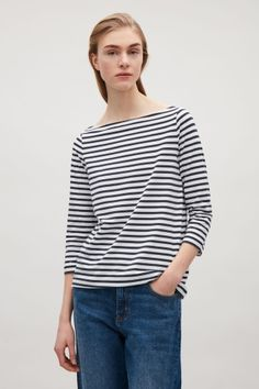 COS image 1 of Striped jersey top in Dark Navy