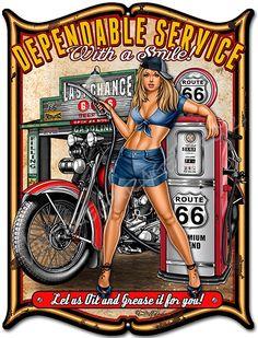 "Nostalgic "" Dependable Service Gas Station "" Route 66 Motorcycle Gas Pump Garage Sign Steve McDonald + 25.00$"