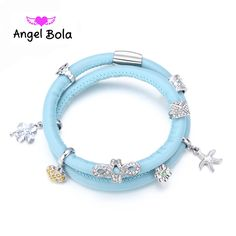 Pryme Endless Leather Bracelet With 9Pcs CZ Plated Charms DIY 39CM Interchangeale Bracelets & Bangle Jewelry E-002