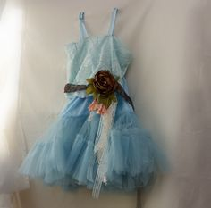 Rustic flower girls dress. Baby blue and brown by MaidintheForest