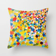 """Swept Away 2"" by Ebi Emporium on Society6, #colorful #rainbow #splash #vibrant #boldcolors #polkadots #spots #ocean #waves #yellow #blue #red #modern #decor #homedecor #decorative #pillow #cushion #throwpillow"