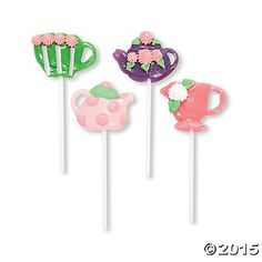 "Suckers shaped as decorative teapots and tea cups! Strawberry, watermelon, apple and grape flavors. Each 1 1/2"" pop comes on a 4"" plastic stick. Individually wrapped. Fat-free."