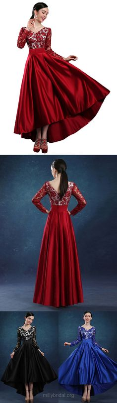 High Low Prom Dresses Burgundy, A-line Party Dresses V-neck, Lace Formal Dresses Long Sleeve, Satin Evening Gowns Asymmetrical Ruffles