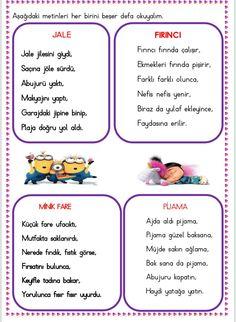 Okumaya yeni geçen öğrenciler için minik metinler  Çiğdem öğretmen Primary School, Pre School, Learn Turkish, Grade 1, Preschool Activities, Montessori, Homeschool, Drama, Classroom