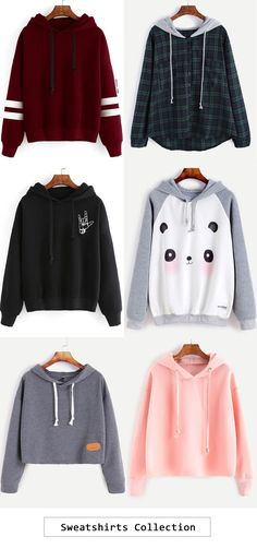 Sweatshirt collection cute tees outfit, k divat, haspólók Komplette Outfits, Outfits For Teens, Winter Outfits, Casual Outfits, Fashion Outfits, Fashion Clothes, Casual Dresses, Teen Fashion, Korean Fashion