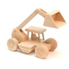Eco- Friendly Toy Wooden Digger on Hootsmart Wooden Toy Cars, Wooden Truck, Wood Toys, Projects For Kids, Wood Projects, Making Wooden Toys, Eco Friendly Toys, Woodworking Toys, Christmas Toys