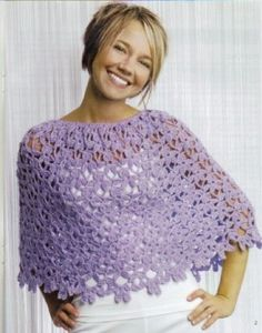 Summertime, and the living is breezy! These warm-weather accessories are so soft and light, you'll almost forget you're wearing them. All four designs — three lacy short ponchos and a triangular shawl — were crocheted with satiny yarns. The ponchos are each worked in one piece circularly from the top down. The colors are reminiscent of saltwater taffy and butter mints, but these little treats would look just as lovely in patriotic hues of red, white, and blue.