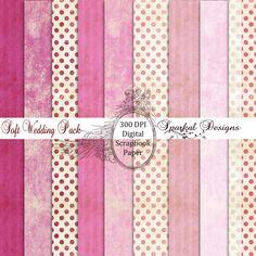 Rose Digital Paper Vintage Grunge Dusty Rose Stripes and Polka Dots Paper Pack of 10 - 12 x 12 Jpeg Sheets SparkalDigitalDesign 4.25 USD