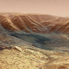 Fly through a canyon on Mars