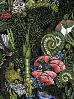 quilts, NZ bush, ponga fronds, kiwi, tui, NZ birds, nikau palm, pohutukawa, owl