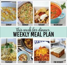 Weekly Meal Plan - Easy and delicious recipes for each day of the week. Pasta, stew, soup, casseroles, and even dessert... We do the planning so you don't have to! PIN IT now and enjoy these recipes later!