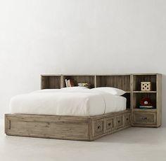 Keynes 8-Drawer Storage Bed With Cubby Headboard & Nightstands Set