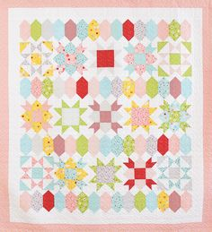 Sweet Stars quilt pattern by She Quilts A Lot using Sweet Orchard fabric by Sedef Imer of Down Grapevine Lane Star Quilt Patterns, Star Quilts, Quilt Blocks, Star Blocks, Block Patterns, Scrappy Quilts, Mini Quilts, Quilting Tutorials, Quilting Projects