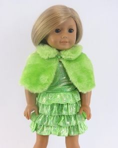 Doll dress up-GREEN doll dress, necklace, jacket, shoes