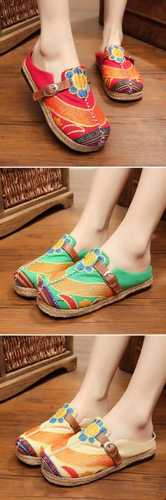 US$19.32 Colorful Embroidered Buckle National Wind Backless Loafers For Women