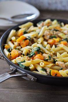 Skillet Butternut Squash, Sausage and Penne Pasta | Mel's Kitchen Cafe
