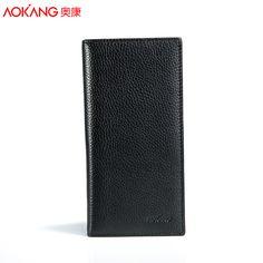 Aokang 새로운 도착 진짜 가죽 긴 슬림 남성 지갑 2 색 블랙/브라운 긴 디자인 다기능 소 가죽 지갑